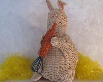 Vintage Wicker Bunny Rabbit Basket Easter Candy Holder