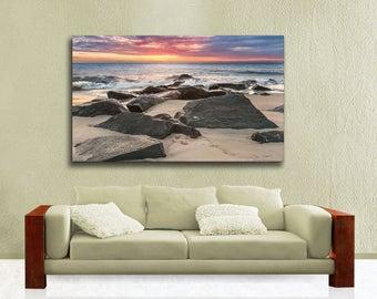 Large Canvas Gallery Wrap, Lewes Delaware Seascape Photography, Cape Henlopen Ocean Sunrise Ready to Hang Wall Art, Blue, Orange
