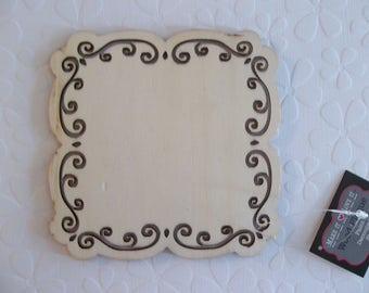 Square Wood Plaque - Scroll Cut Outs - 5 inch - DIY Home Decor - Wood Embellishment - Wood Wall Art - Wooden Shape