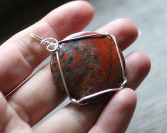 Red Jasper Silver Wire Wrap Pendant #7236