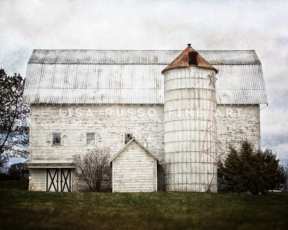 Farmhouse Decor Fixer Upper Decor White Barn Landscape