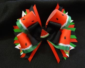 Watermelon bow, large 5 inch hairbow