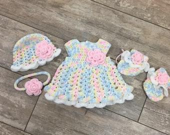 Crochet NB Baby Girl Ruffly Onesie Dress Set, Hat, Headband, Onesie Dress, Booties, Ready To Ship, Free US Shipping