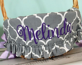 Personalized Easter Basket Liner - Gray Quatrefoil Ruffled - Personalized with Name - Custom Basket Liner