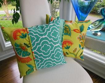 Outdoor Flower Pillow - Teal Trellis Pillow - Green Pillow - Orange Pillow - Patio Pillow - Stripe Pillow - Porch Pillow - Outdoor Pillow