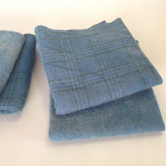 Farmhouse Blues,  Wool Fabric, Hand Dyed, 2) Fat Quarters, W289, Rug Hooking Wool, Applique Wool, medium blue