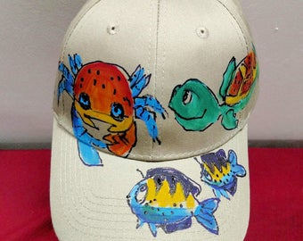 Turtle and Crab Baseball Cap Handpainted for Adults and Kids