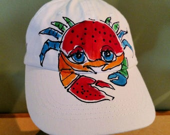 Cute Crab Baseball Cap Handpainted for Adults and Kids