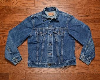 vintage 70s Levi's denim jacket vintage Levis distressed faded denim jacket large 42 trucker jacket dark wash