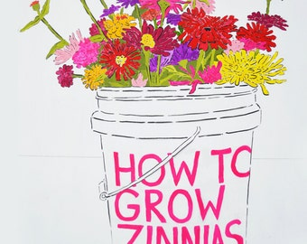 How To Grow Zinnias/ Zine + 2 packages of Zinnia seeds: Lilliput Zinnias and Giant Zinnias