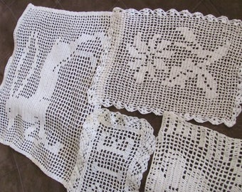 Doily Lot of 4 Vintage Handmade Crocheted Doily Table Runner Place Mat Chair Scarf (#12B)