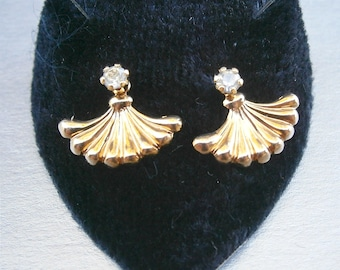 Vintage Swarovski Element Crystal Earrings Fan Gold Tone Black Velvet Acrylic Box Scallop Tiny Fish Tail Post Stud Dainty Girl Lady Petite