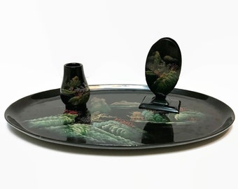 3 pc Vintage 1950s Japanese Lacquer Ware Tray Matchbox holder and toothpick holder hand painted landscape scene