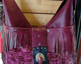 Handcrafted American Hippie Bohemian OOAK Leather  Sac, Shoulder bag, Fringe Accents, Leather, Vintage Findings Free People ..Enjoy!! *USA*