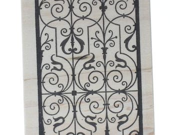 Wrought Iron Grille Fence Gate Stampington And Co Wooden Rubber Stamp