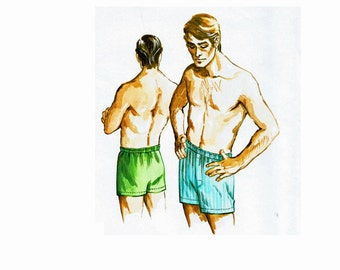 Men's Boxer Shorts Sewing Pattern Waist Sizes 26 28 30 32 Kwik Sew 332