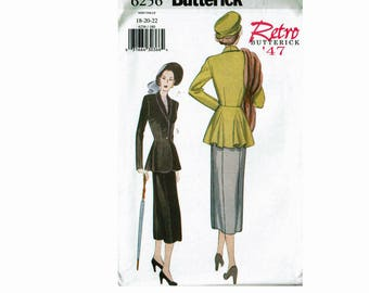 Butterick Retro '47 jacket and Skirt Bust 40 42 44 Uncut Sewing Pattern Sizes 18 20 22 OOP Misses Butterick 6256 1947 Reissue pattern