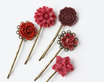 Burgundy hair accessories, Burgundy wedding hair pins, burgundy flower hair pins, set of five hair pins, flower pins, dark red hair pins