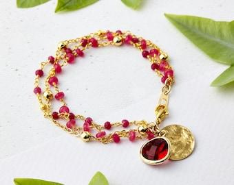 Ruby Friendship Bracelet - July Birthstone Jewellery, Pink Chalcedony, Ruby Jewellery, Charm Bracelet, Friendship Jewellery, Gifts for her