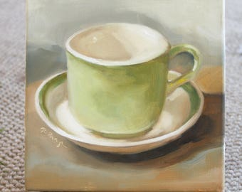 Original Oil Painting on canvas green coffee mug