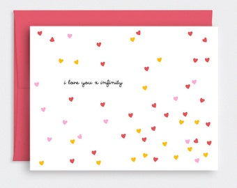Valentine Card Funny - I Love You X Infinity - Unique Funny Anniversary Card For Him - Petite Confetti Hearts Red, Pink, Yellow