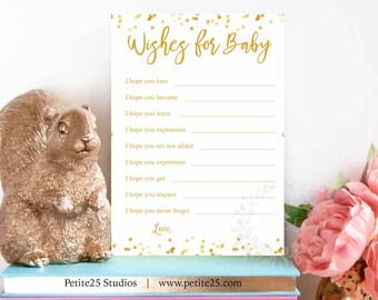 Wishes for the baby, baby shower game, gold foil dots, printable game