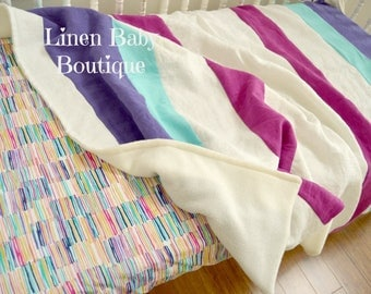 Toddler or Baby Bedding, Crib Bedding. 2 Pieces. Fitted Sheet and Linen Stripe Blanket.