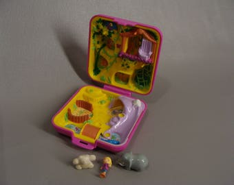vintage Polly Pocket. 1989 WILD ZOO WORLD. 80s Polly Pocket. Original Pink Square Compact. Polly, Bear & Elephant. Missing Monkey. 80's Toys