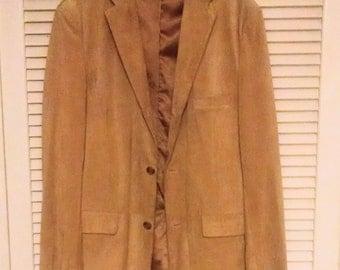 Mens Suede Leather Jacket Signed Alfani Sport Coat Blazer Size 44 Long Cinnamon Color Leather