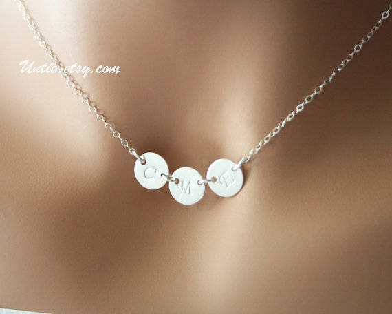 personalized necklace sterling silver three initial disc. Black Bedroom Furniture Sets. Home Design Ideas