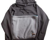 Rat Pack Hoodie for Small Animal Wearing in Gray with Blue Pocket Lining