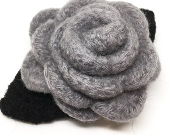 Gray Grey Rose Felted Wool Flower Brooch  with Black Leaves