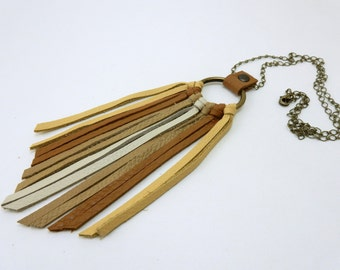 Sunburst Leather Fringe Chain Necklace with Yellow, Terra Cotta, Beige, and Tan Leather Fringe Antique Brass Chain and Ring