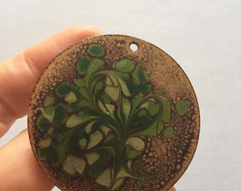 Mid Century Pendant, Inga, Decorated Medallion, Round Copper, Swirling Abstract Pattern, Green, Enamel, Mid Century, Art and Crafts