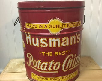 Husman's Potato Chips can - vintage home delivery tin - 1960s