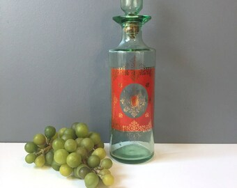 Old Fitzgerald Bourbon bottle - green glass decanter with mid century printed medallion - 1960s vintage