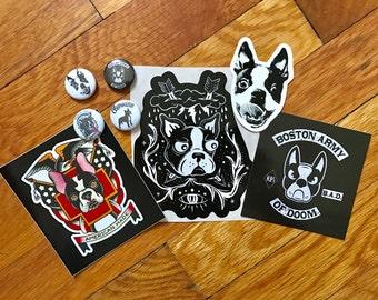 Clevotine Boston Terrier Button Sticker Pack