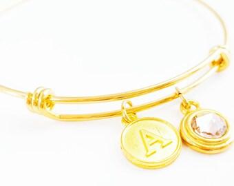 Customizable Stacking Birthstone Bracelet - Bangle Bracelet - Flowergirl Bracelet - Teacher Bracelet - Christmas Gift - Bridesmaid Bracelet