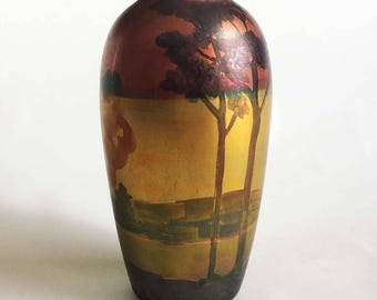 Weller Sicard Lasa Landscape w Trees Clouds Vase signed Weller LaSs