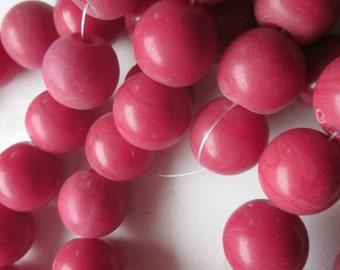 16mm Burgundy Round Lampwork Glass Beads 10 Beads