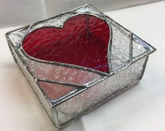 Contemporary Stained Glass Jewelry Box - Contemporary - Keepsake Box - Heart Box - Trinket Box - Valentine (PLG085)