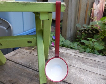 Vintage 1930s to 1940s Red and White Enamel Ladle/Scoop Metal Farmhouse Country Home Kitchen Decor Retro Large
