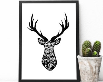 Psalm 42:1 Deer Head Silhouette with Hand Lettering Scripture, Letter Press Style Modern Calligraphy Bible Verse Art Print, Baby Boy Nursery