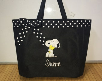 Personalized Snoopy & Woodstock Tote Diaper Bag Baby