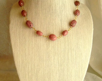 Pink Rhodonite Nugget Necklace