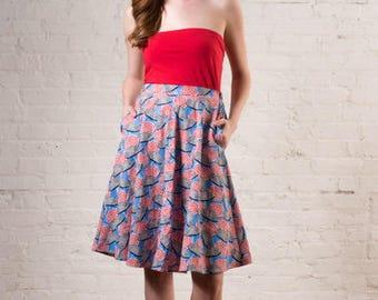 Market to Market Skirt - Umbrella Cabana Print Cotton Kitsch Novelty Pin Up Rockabilly Retro Vintage Inspired Pinup Nashville Southern Belle