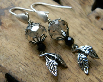 Beaded earrings leaf earrings special occasion earrings sparkly drop earrings gift for her beaded jewelry wedding jewelry silver and black