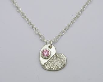 Silver Heart Finger Print Necklace with Birthstone Handmade Keepsake Mother Mom Daughter Father Dad Sister Brother Personalized Wedding