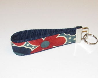 SPRING Sale Fabric Key Fob Keychain--Navy, Blue and Red Floral