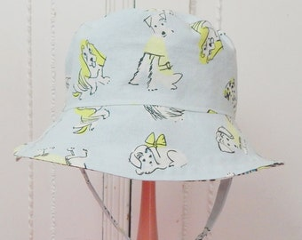 Baby Sun Hat, 6 to 12 Month Reversible Bucket Hat, Dog Print Sun Hat